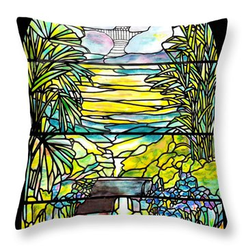 Stained Glass Tiffany Holy City Memorial Window Throw Pillow by Donna Walsh