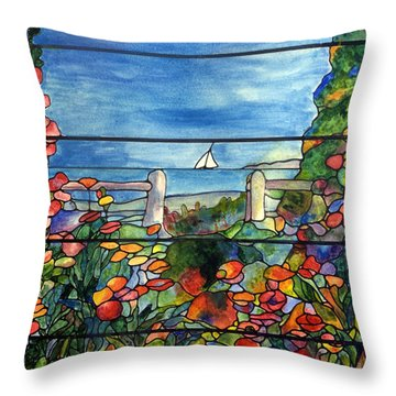 Stained Glass Tiffany Landscape Window With Sailboat Throw Pillow by Donna Walsh
