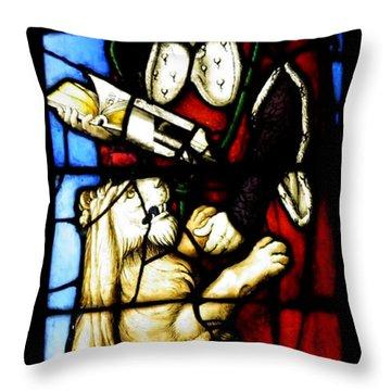 Stained Glass Window C Freiburg Im Breisgau Throw Pillow by Leone M Jennarelli