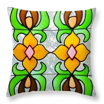 Throw Pillow featuring the photograph Stained Glass Window by Janette Boyd