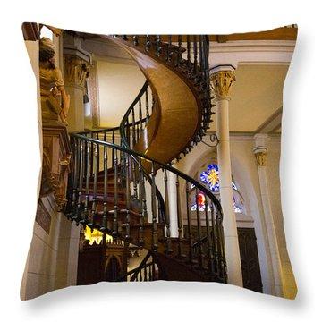 Staircase Loretto Chapel 2 Santa Fe Nm Throw Pillow