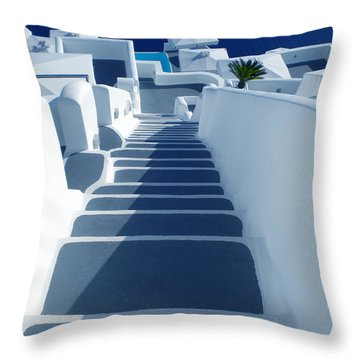 Stairs Down To Ocean Santorini Throw Pillow