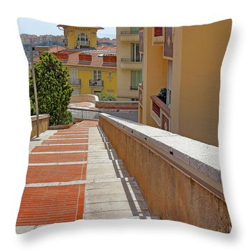 Stairway In Monaco French Riviera Throw Pillow