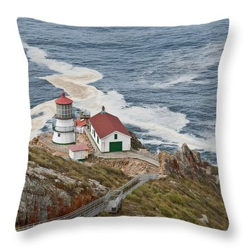 Throw Pillow featuring the photograph Stairway Leading To Point Reyes Lighthouse by Jeff Goulden