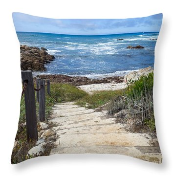 Stairway To Asilomar State Beach Throw Pillow