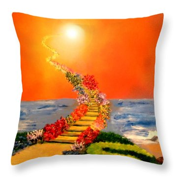 Throw Pillow featuring the painting Stairway To Heaven by Michael Rucker