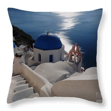 Stairway To The Blue Domed Church Throw Pillow