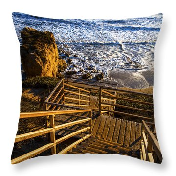 Throw Pillow featuring the photograph Steps To Blue Ocean And Rocky Beach by Jerry Cowart