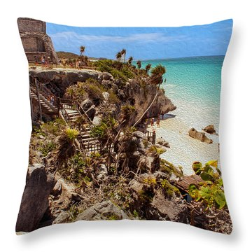 Stairway To The Tulum Beach  Throw Pillow