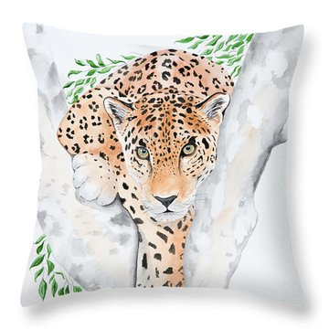 Stalker In The Trees Throw Pillow by Joette Snyder