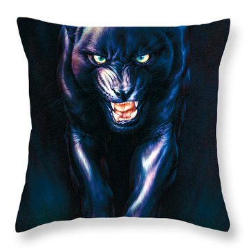 Stalking Panther Throw Pillow by Andrew Farley