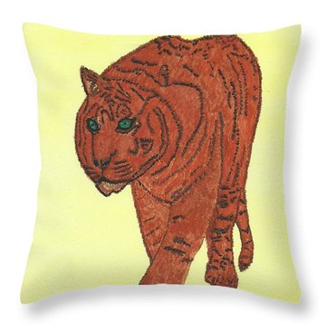 Throw Pillow featuring the painting Stalking Tiger by Tracey Williams