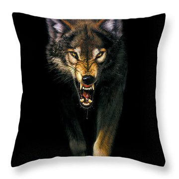 Stalking Wolf Throw Pillow