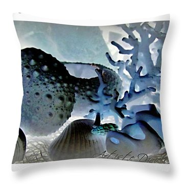 Stamp Seashells In Blue  Throw Pillow by Danielle  Parent