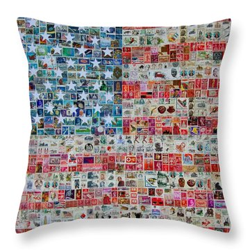 Stamps And Stripes Throw Pillow by Gary Hogben