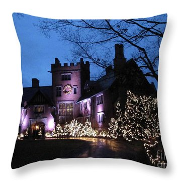 Stan Hywet Hall And Gardens Christmas  Throw Pillow by Joan  Minchak