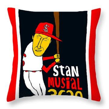 Stan Musial St Louis Cardinals Throw Pillow by Jay Perkins