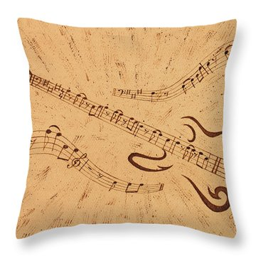 Stand By Me Guitar Notes Original Coffee Painting Throw Pillow