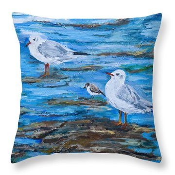 Sea Birds Wait Throw Pillow