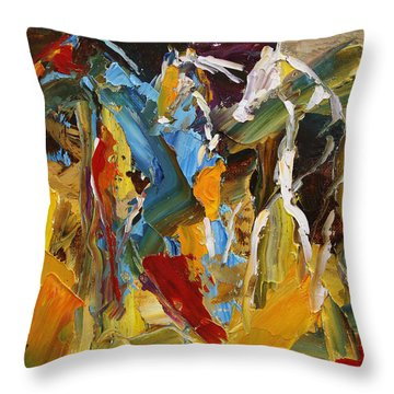 Stand Off At The Brazos River  Horse 26  2014 Throw Pillow