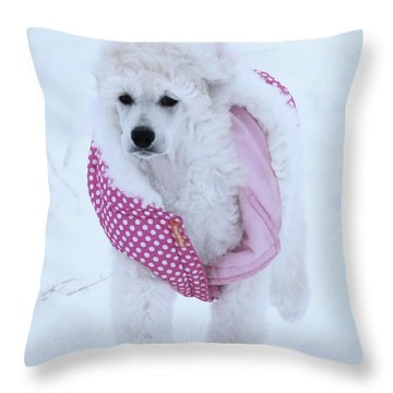 Standard Poodle In Winter Throw Pillow