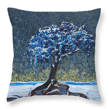 Standing Alone In The Snow Throw Pillow