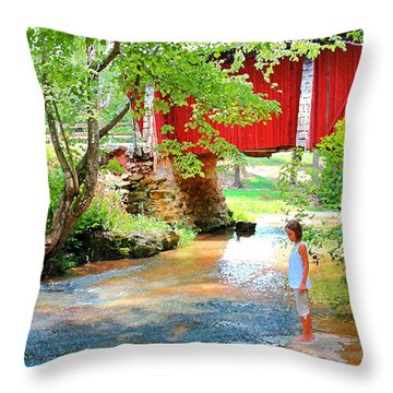 Standing By The River At Campbell's Bridge Throw Pillow