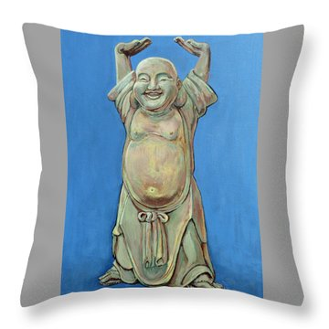 Throw Pillow featuring the painting Standing Happy by Tom Roderick