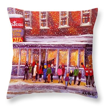 Throw Pillow featuring the painting Standing In Line At The Chateau by Rita Brown