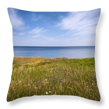 Standing On Cliff Edge Throw Pillow