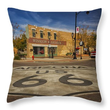 Standing On The Corner In Winslow Arizona Dsc08854 Throw Pillow