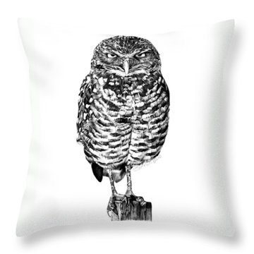 041 - Owl With Attitude Throw Pillow by Abbey Noelle