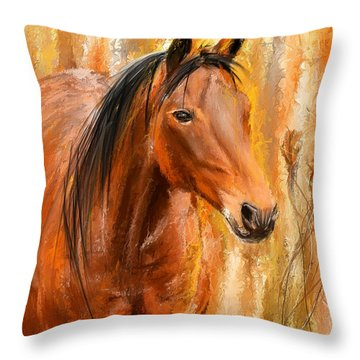 Standing Regally- Bay Horse Paintings Throw Pillow