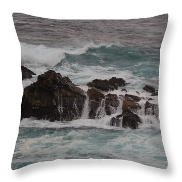 Throw Pillow featuring the photograph Standing Up To The Waves by Suzanne Luft