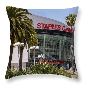 Staples Center In Los Angeles California Throw Pillow by Paul Velgos