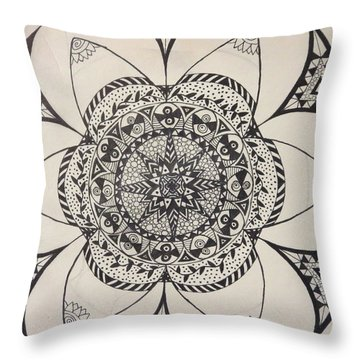 Throw Pillow featuring the drawing Star Design by Jona Allen