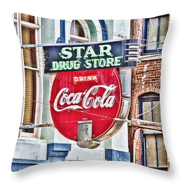 Star Drug Store - Hdr Neon Sign Throw Pillow by Scott Pellegrin