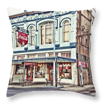 Star Drug Store - Store Front Throw Pillow by Scott Pellegrin