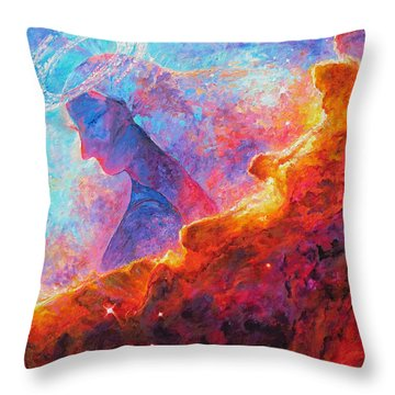 Star Dust Angel Throw Pillow by Julie Turner