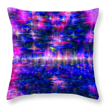 Throw Pillow featuring the mixed media Star Gardens by Carl Hunter