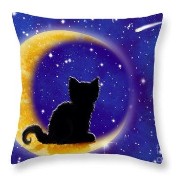 Star Gazing Cat Throw Pillow