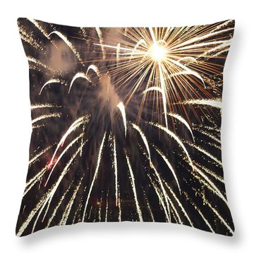 Star In The Fireworks Throw Pillow by Jacqueline Russell