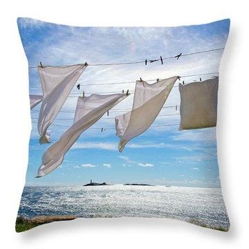 Star Island Clothesline Throw Pillow