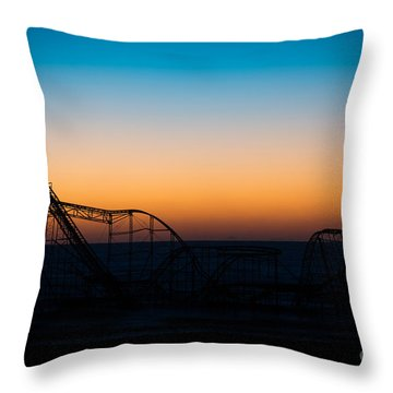 Star Jet Roller Coaster Silhouette  Throw Pillow by Michael Ver Sprill