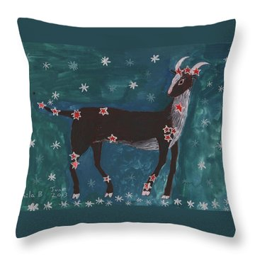 Star Sign Capricorn Throw Pillow by Sushila Burgess