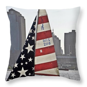 Throw Pillow featuring the photograph Star Spangled Sail  by Lilliana Mendez