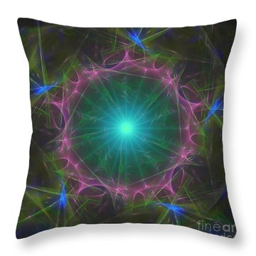 Throw Pillow featuring the digital art Star System 7 by Ursula Freer
