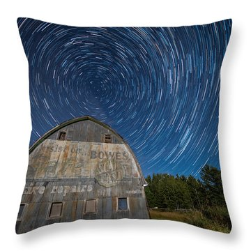 Star Trails Over Barn Throw Pillow by Paul Freidlund