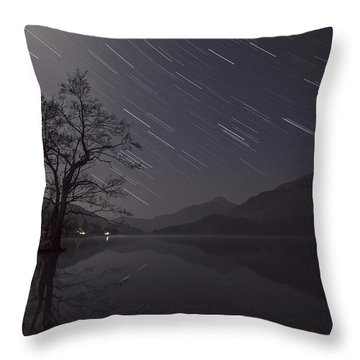 Star Trails Over Lake Throw Pillow