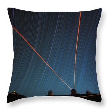 Star Trails Over Mauna Kea Observatory Throw Pillow